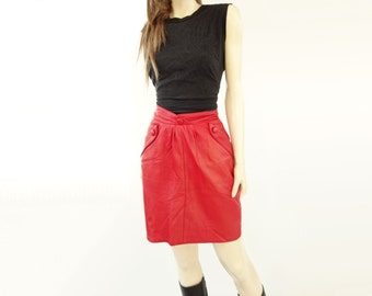 Red Leather Skirt, Vintage Leather Mini, Vintage Red Leather, High Waist 80s Skirt, 80s Vintage Skirt, Small