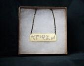Klingon Feminist Necklace: Be'ist, Star Trek Jewelry, Feminist Jewelry, Star Trek Necklace