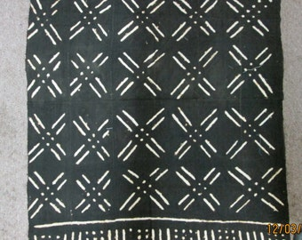 African Mudcloth, HandWoven, Hand dyed, Black and white, X's and O's