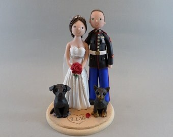 Unique Cake Toppers - Bride & Groom with Dogs Personalized Military Wedding Cake Topper