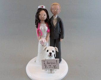 Cake Toppers - Doctor & Nurse with a Dog Customized Wedding Cake Topper