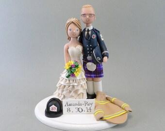 Custom Handmade Scottish Firefighter Wedding Cake Topper