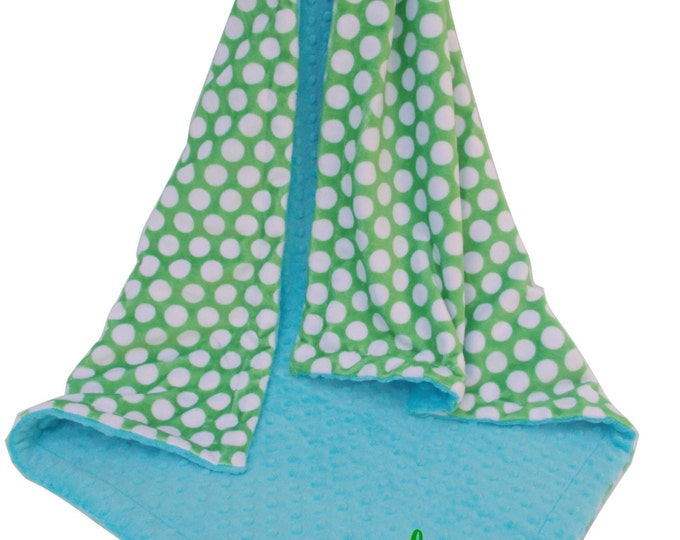 Lime Green Mod Dots With Aqua Turquoise Minky Baby Blanket