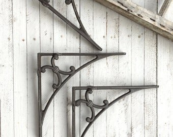 Cast Iron Shelf Brackets , Rustic Barnyard, Large Brackets, Shabby Chic Home, Classic Brackets, Anthropologie Style, Metal Wall Decor
