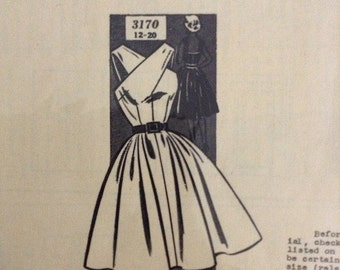 Vintage New Style Mail Order Sewing Pattern 3170 Crossover Halter Sun Dress - Size 14