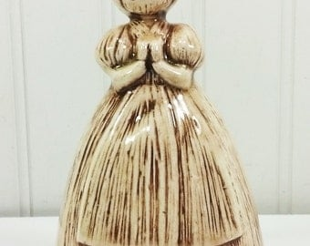 Praying Girl Figurine Votive Candle Holder, Hand Painted Straw Look Ceramic Girl