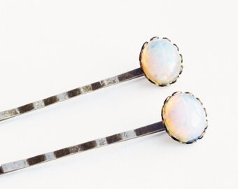 Opal Hair Pins Pink Glass Bobby Pins Vintage Glass Fire Opal Hair Pins Light Pink Glass Bobby Pins Victorian Bridal Opal Accessorie