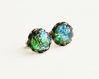 Green Opal Studs Vintage Glass Harlequin Fire Opal Post Earrings Emerald Studs Hypoallergenic Iridescent Green Studs Glass Earrings