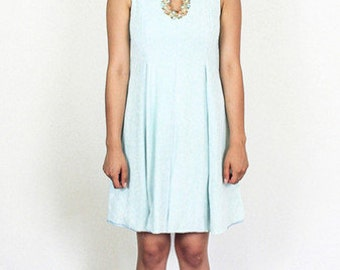 Soft Baby Blue Beaded 60's Dress