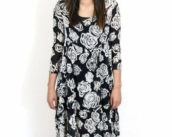 Black and White Sheer Floral Dress
