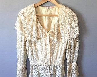 Cream 70's Lace Blouse