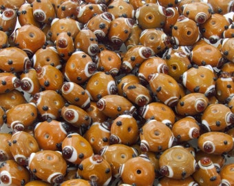 18x9mm Opaque Caramel with Opaque White and Transparent Topaz Dots Handmade Lampwork Glass Beads - Qty 10 (AS44)