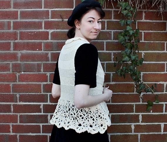 Edwardian vest,knit waistcoat,steampunk inspired, victorian style, cream colored,cashmere cotton,romantic crochet,woman's fashion