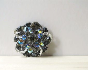 elegant smokey topaz rhinestone brooch aurora borealis marquis round stone
