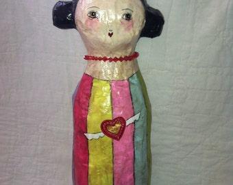 Paper Mache Folk Art Valentine Doll