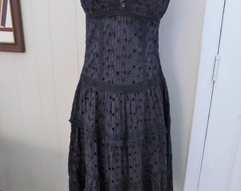 Black Cotton Eyelet Lace Sun Dress XS