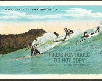 Honolulu, Territory of Hawaii Vintage Postcard - Surf Riding at Waikiki Beach (Unused)