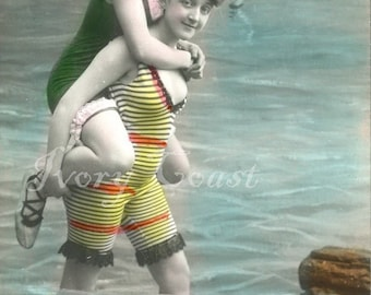 Piggy Back Seaside Vintage Swim.  Digital Download.  Postcard, photo, beach, play, fun, ladies, friends, ephemera, transfer, pals, #16P/ES