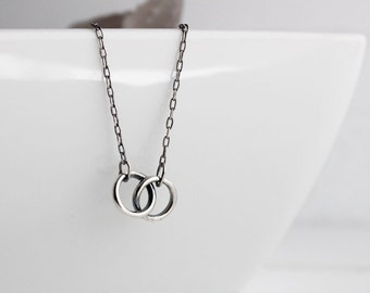 Infinite Circles, Sterling silver Infinity Necklace, Simple symbolism, gifts for her, Valentine, Love, Romance, Universal Love, Handmade