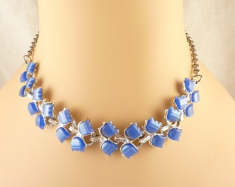 Vintage Blue Thermoset Tulip Silver Tone Necklace