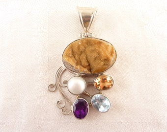 SALE ---- Beautiful Vintage Sterling Set Citrine Druzy Gemstone Pendant with Amethyst and Blue Topaz