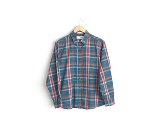 DIANE Von FURSTENBERG Plaid Button-Up Shirt // Long Sleeve Blouse - Teal & Red-Orange - Vintage '80s. Size XL.