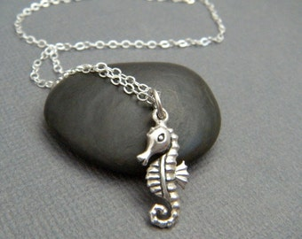 """tiny silver seahorse necklace. realistic small sterling sea horse pendant. ocean aquatic marine life animal beach jewelry nature charm. 3/4"""""""