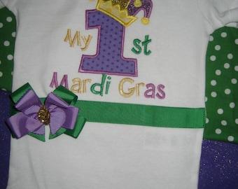 My First Mardi Gras bodysuit with bow