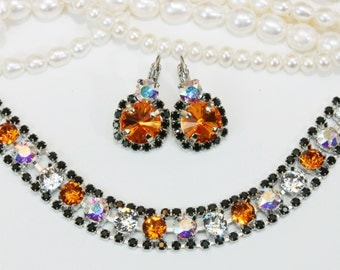 Halloween Jewelry Black Orange Bracelet Set with Matching Earrings Orange Black Drop Halo Earrings,Swarovski Crystals,Silver,Tangerine,SB52