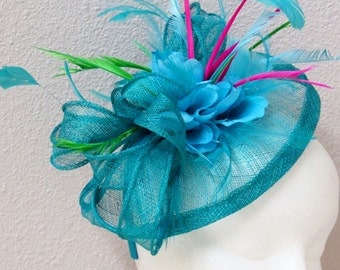 Blue fascinator turquoise fascinator hat ocean blue wedding derby hat SUMMER BRUNCH