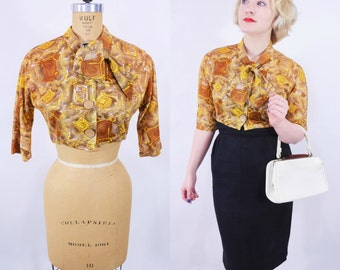 1950s crop top | brown abstract novelty print ascot tie blouse | vintage 50s top | W 28""