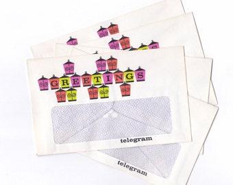 Vintage Australia Post GREETINGS Telegram Envelopes | Decorative Envelopes | Post Office x 5  UNUSED  for Crafting or Collecting