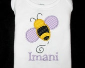 Custom Personalized Applique BUMBLE BEE and NAME Bodysuit or Shirt  - Yellow, Black, and Lavender or Gray
