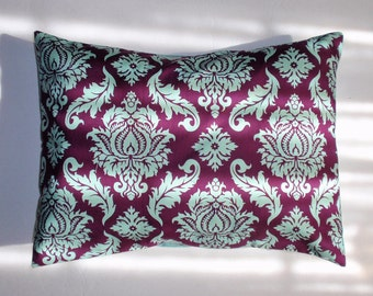 "Throw Pillow Cover, Plum Purple Damask Pillow Cover, Handmade Lumbar Pillow Cover, Decorative Purple Damask Cushion Cover, 12x16"" Square"
