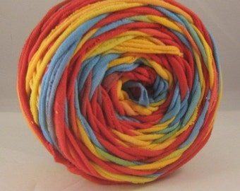 T Shirt Yarn Hand Dyed- Rainbow 60 Yards