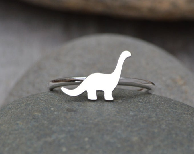 Dinosaur Ring, Brontosaurus Ring In Sterling Silver, Stackable Animal Ring