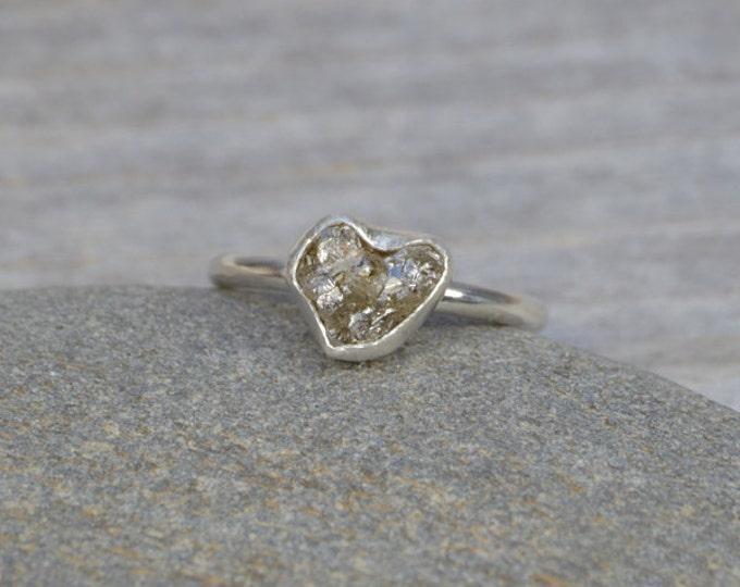 Raw Diamond Engagement Ring, Raw Diamond Ring, 1.85ct Rough Diamond Ring, Organic Heart Shape Diamond Ring, Handmade In England
