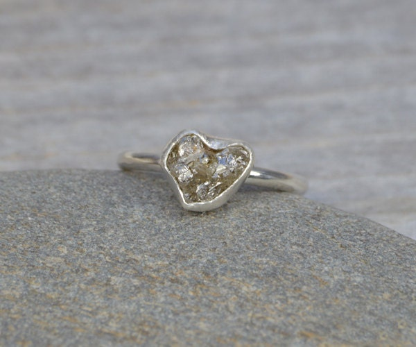 raw diamond engagement ring raw diamond ring 185ct rough diamond ring organic heart shape diamond ring handmade in england