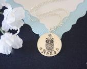 Grandma Necklace Personalized, Nana Gift, Owl Charm, Sterling Silver Necklace, Monogram Necklace, GG, Gigi
