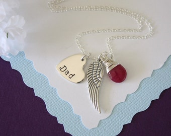 In Memory of Dad Necklace Personalized, Angel Wing Necklace, Birthstone Necklace,  Mom Charm, Inspirational Necklace, Sterling Silver