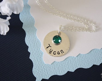 Personalized Mother Necklace, Grandma Gift, Birthstone, Children, Sterling Silver Necklace, Monogram Necklace, GG, Gigi