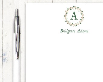 personalized notePAD - WATERCOLOR WREATH MONOGRAM - stationery - monogrammed stationary - letter writing paper