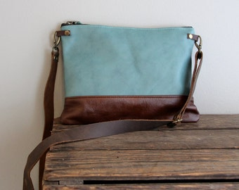 Aqua Teal Blue and Brown Leather Purse Clutch