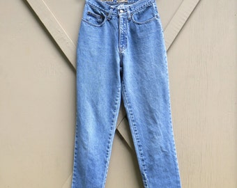 80s vintage Express High Waist Faded Stone Wash Denim Skinny Jeans / Express Jeans