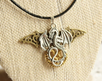 Steampunk Dragon Necklace, steampunk jewelry, dragon jewelry, gifts for him, fantasy jewelry, jewelry for men, necklaces for men