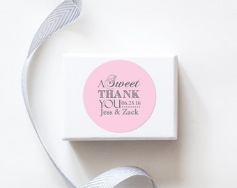 A Sweet Thank You Wedding Favor Stickers - Custom Labels // Dessert Table