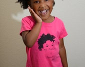 "Kids Hot Pink with Black and Hot Pink with White ""My Natural is Beautiful"" T-Shirt"