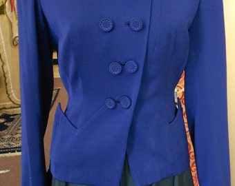 "1940's, 36"" bust, wool gaberdine royal blue jacket."