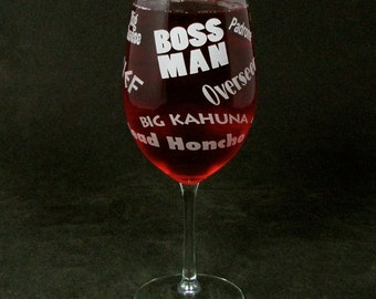 Boss Man Wine Glass, Great Father's Day Gift for Boss, Husband, Present for Dad