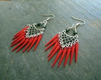 Spike Earrings, Red Bold Tribal Statement Earrings, Unique Womens Gothic Boho Dangle Drop Lightweight Fashion Earrings